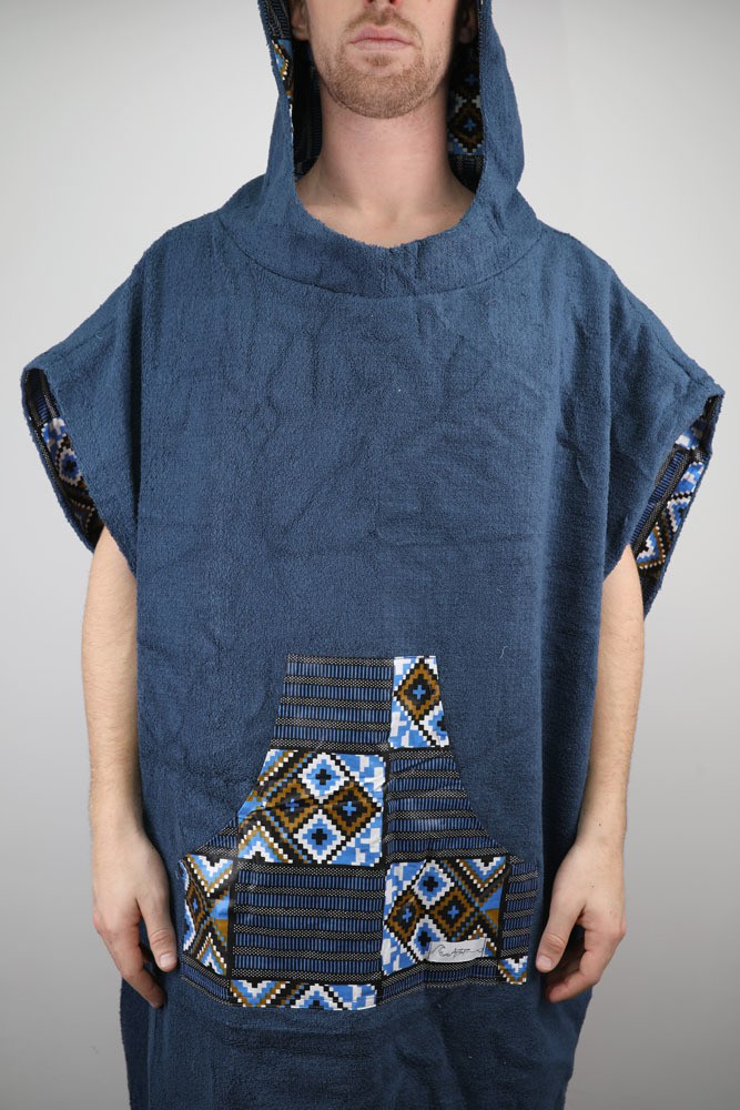 Poncho towel square blue blue reversible terry cloth and ethnic fabric wax  - Sport Wears blue, for her, cotton, ankara