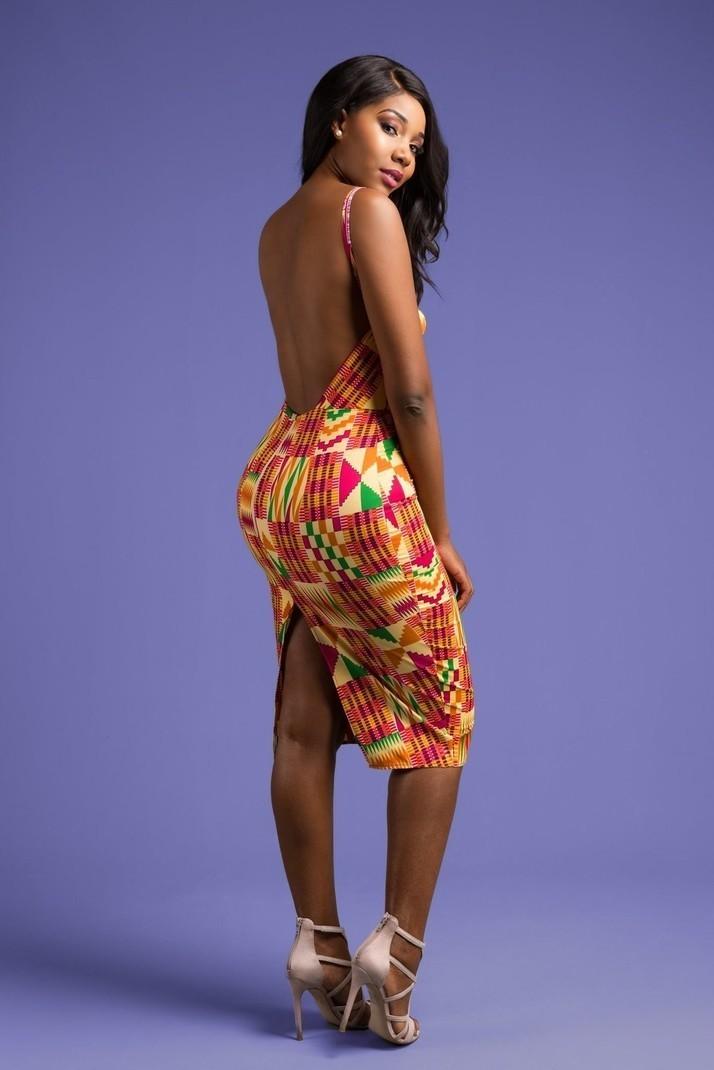 5c0f2bdee810 African Print Midi Dress by hintof-print - Mid-length Dresses - Afrikrea
