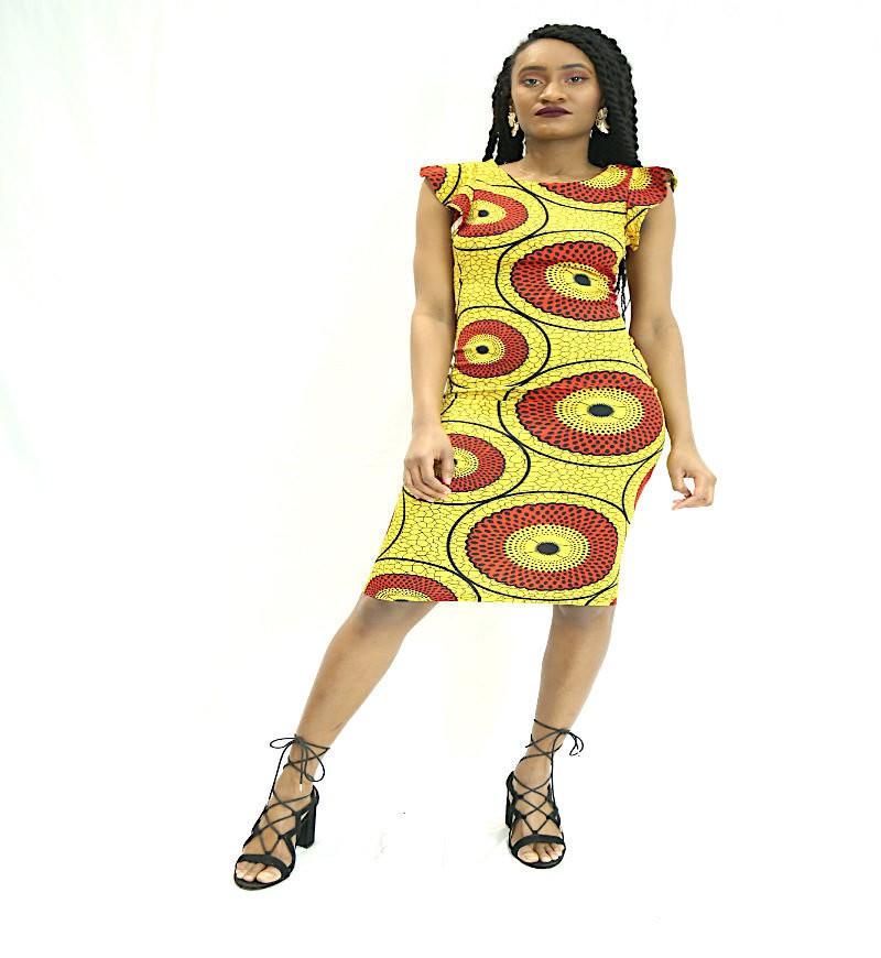 b5e3abf978d Robes moulante jaune rouge imprimé wax par waxkundadesign - Robes Mi ...