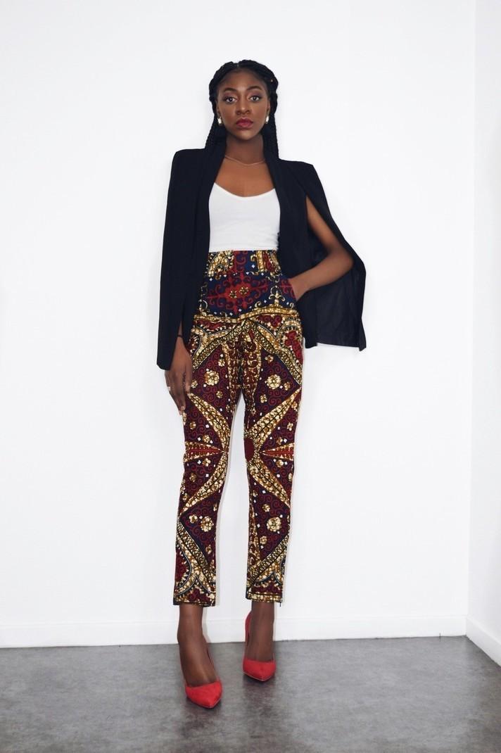nuances de nouvelle version moderne et élégant à la mode Pantalon droit taille haute - Pantalons Femme multicolore, grande taille et  formes, tenues sexy, wax, pour elle, coton, workwear