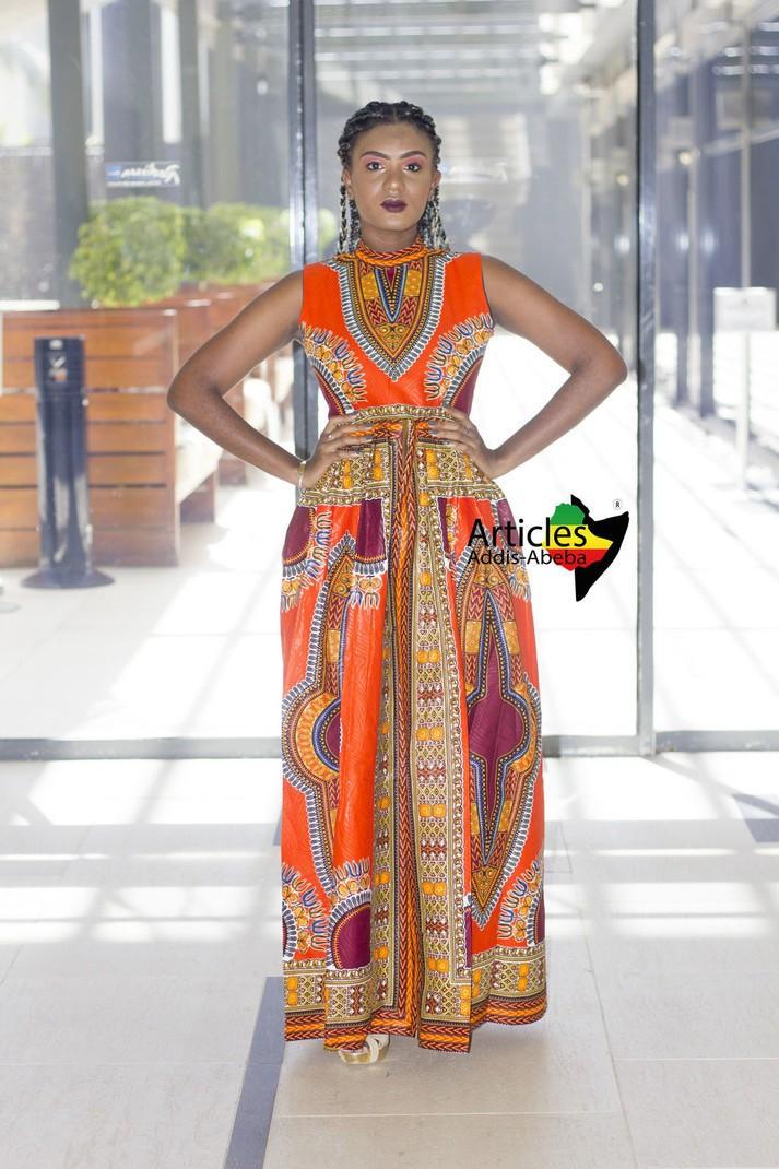 585a9cbc3a3 Longue robe Addis-abeba Orange sans manche par articles-addis-abeba ...