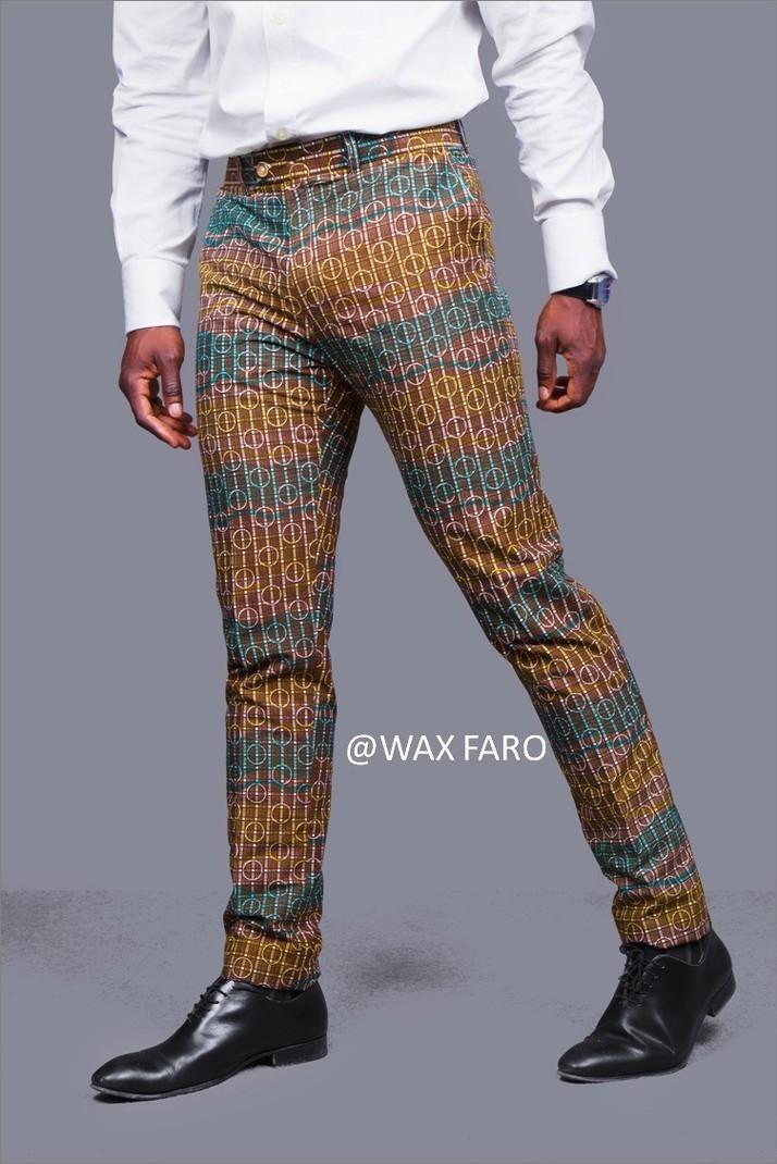 a65a70a05923a Pantalon Waxblock - Pantalons slim/droits Hommes marron, grande taille et  formes, casual, wax, pour lui, coton, les beaux jours