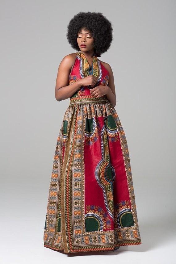 Longue Robe Addis-Abeba Decoltée Rouge par articles-addis-abeba ... b50a2b80c585