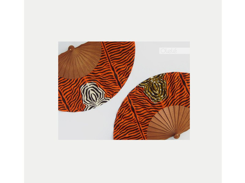 African Wedding Gift Fan Fabric Wax Orange Choose Your Color