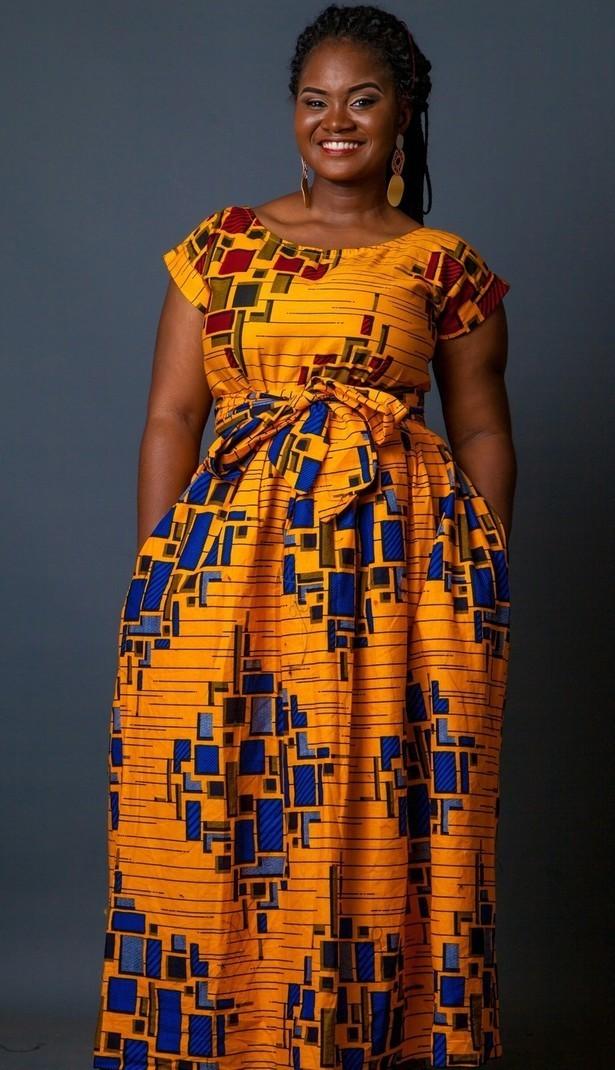 Robe longue imprim e m lang e robe africaine robe maxi for Robes maxi design pour les mariages