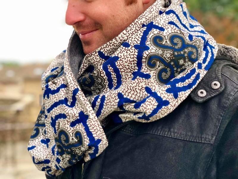 Snood Homme   Écharpe   Tour de cou réversible en laine et wax ... 0d844015c3f