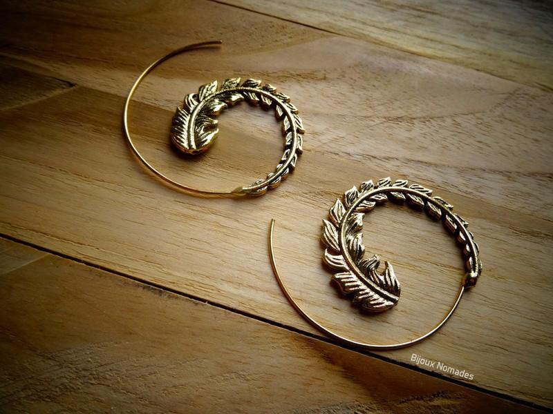 dac7ca02df4b5 Tribal feather spiral earrings boho bohemian creole gypsy ethnic bronze  brass - Large hoop and ring earrings brass, , for her, pierced earrings, ...