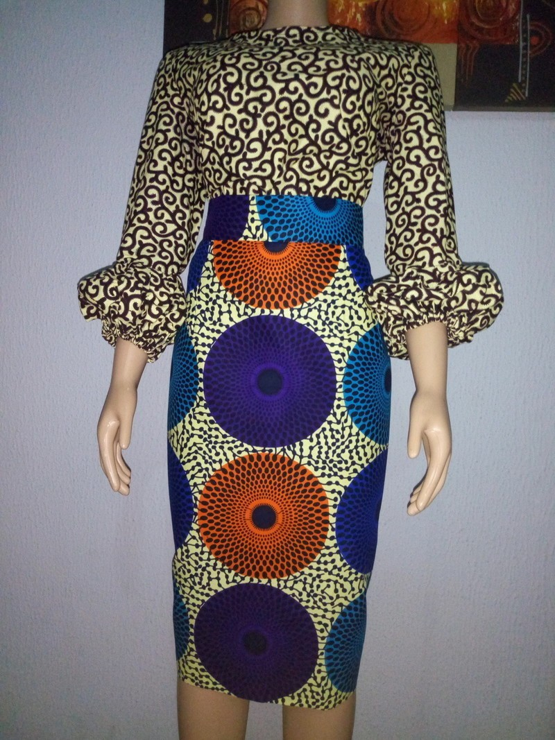 Difference Niveau Entre 2 Pieces timi african mixed print pencil skirt & top set - 2 pieces set grey, plus  size and curves, tall, all ankara, sexy clothes, ankara/wax, for her,