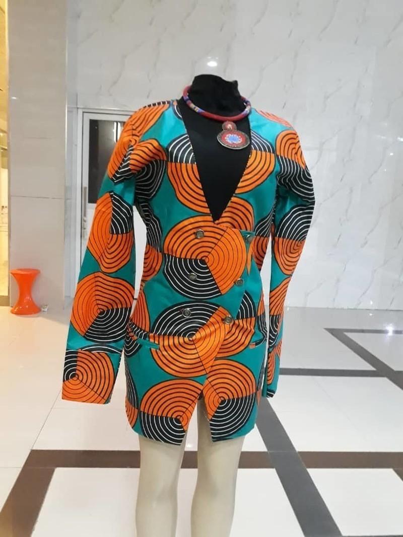 Veste Tribu orange, turquoise et noire - 100% Wax imprimé africain ... 662c99a36908