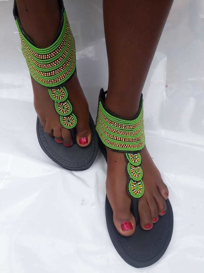29ccd54f9310e African sandals / Maasai sandals / Kenyan sandals / women sandals /  handmade sabdals - Sandals, flip flops green, , , , for her, beads, leather,