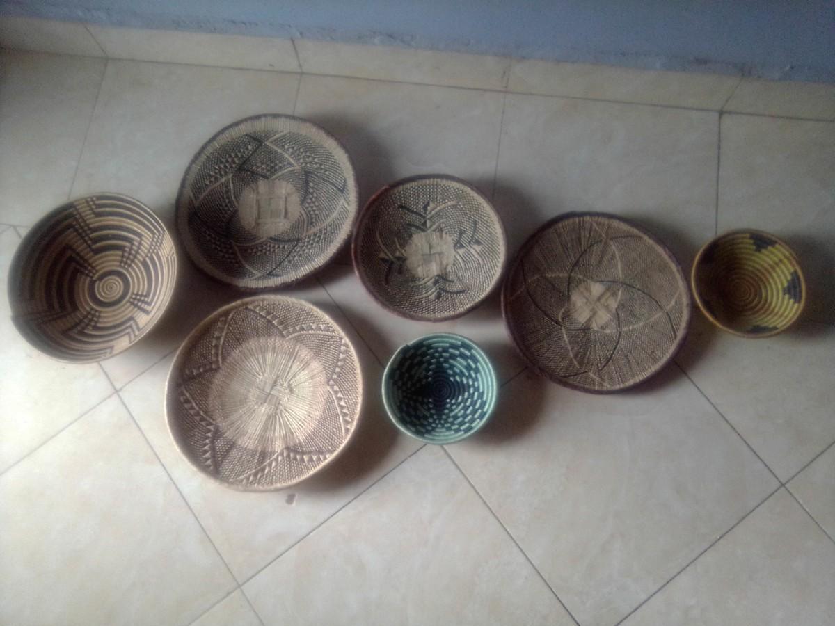 Tenture Africaine Grande Taille 7 panier rwanda, panier binga, panier suspendu