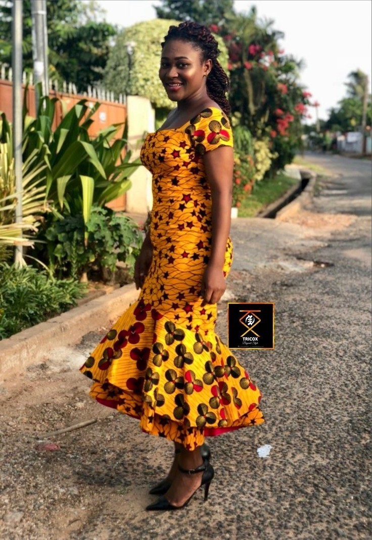 African Clothing for women, African print dress, Ankara Dress - Mid-length  Dresses flared dresses, wedding dress, yellow, petite, plus size and ...