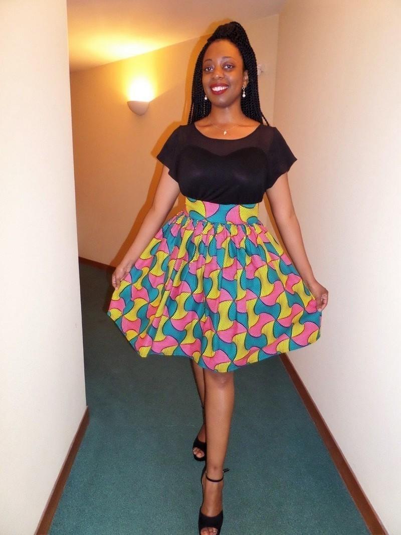 jupe courte froncee en wax pagne africain par