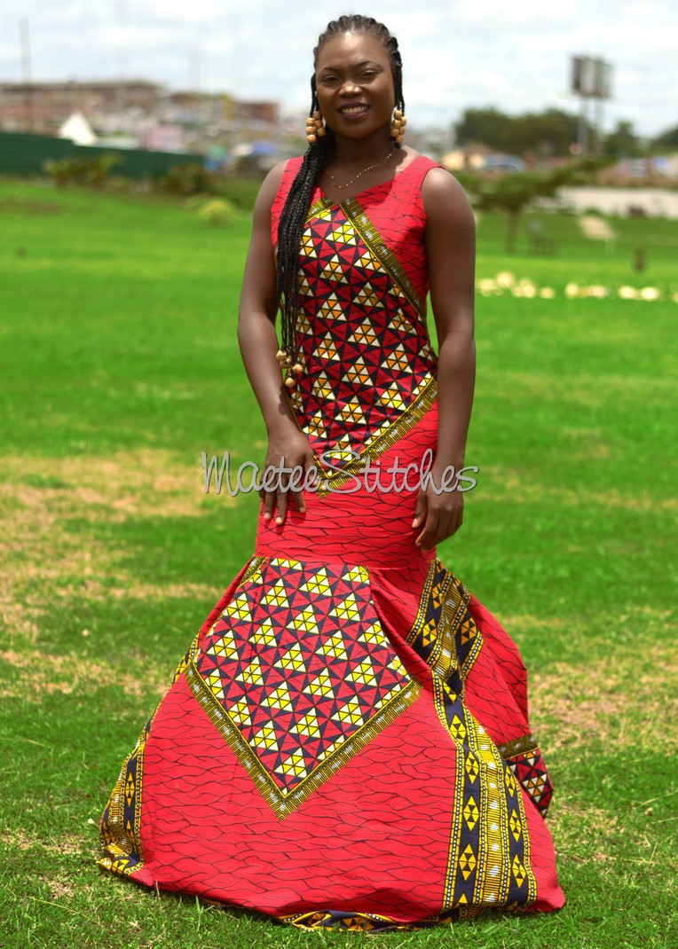 b7033d7cb426 Pemi Red African Ankara mermaid dress, African Ankara dinner dress ...