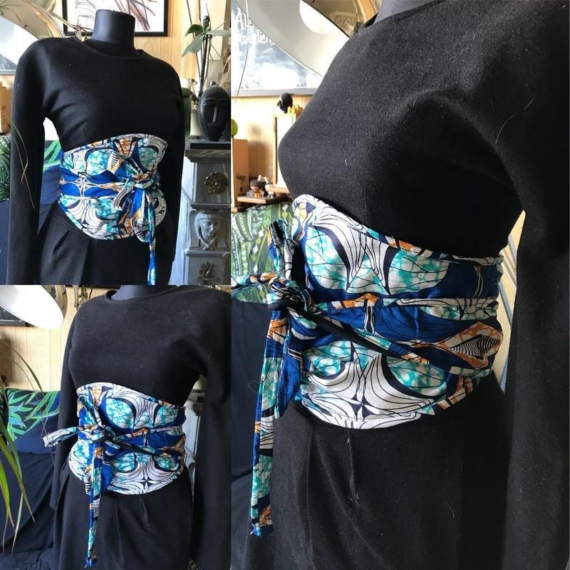 Ceinture Obi Réversible, Serre Taille Wax bleu et jean brut,ethnique ... f983e90d91f