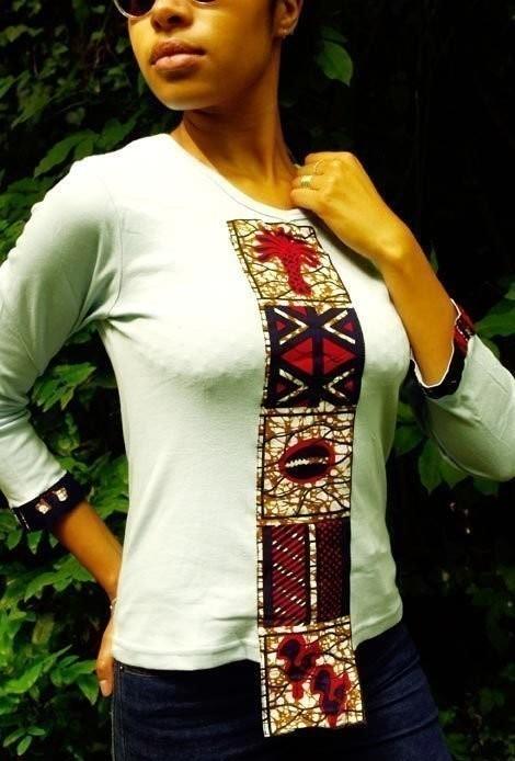 1f2a2d3cffaf T-shirt femme col V bleu ciel manches longues en tissu pagne ...