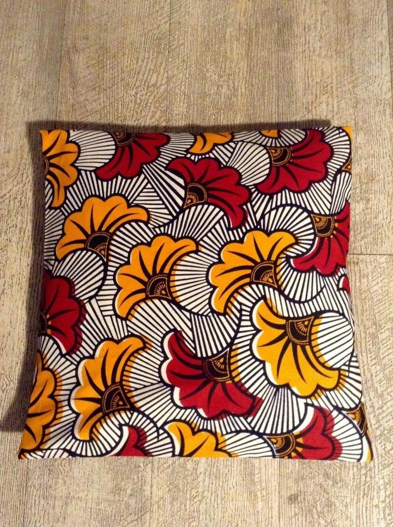 Housse Pour Coussin 40cm 40 Wax Fleurs De Mariage Oranges Et Rouges