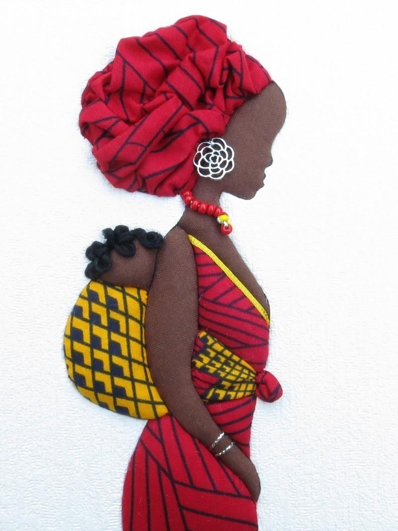 Femme africaine portant un enfant dans le dos tableau - Africaine dessin ...