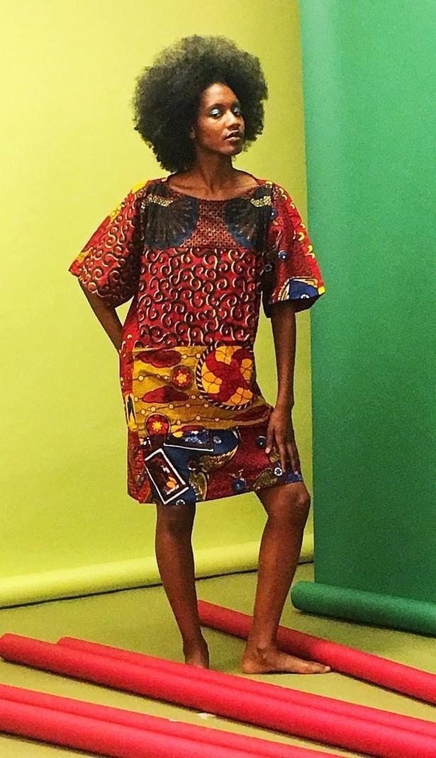 d78f07c39a4 Women's tunic dresses Carla mixed African print oversize tunic dress ...