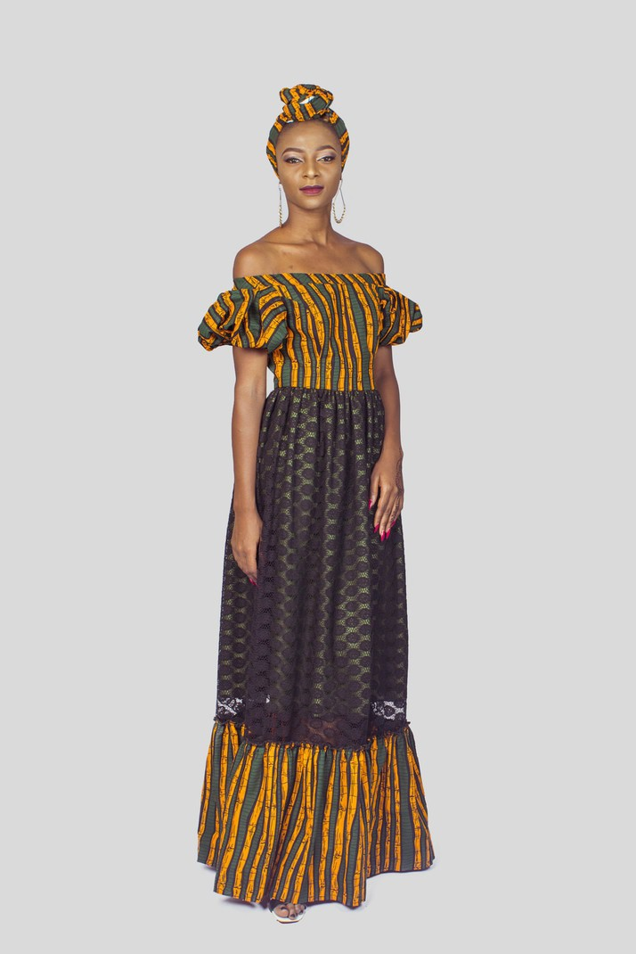 20c1740ee64 African Print Lace Dress, Couples Outfit, Ankara Dress, African Clothing  for Women, African Dress