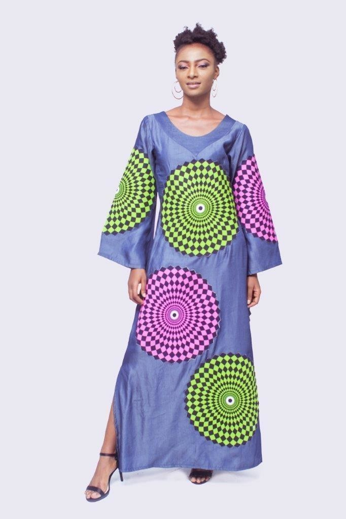 Jeans Dress With Ankara Patch Work Designwomens Clothing African