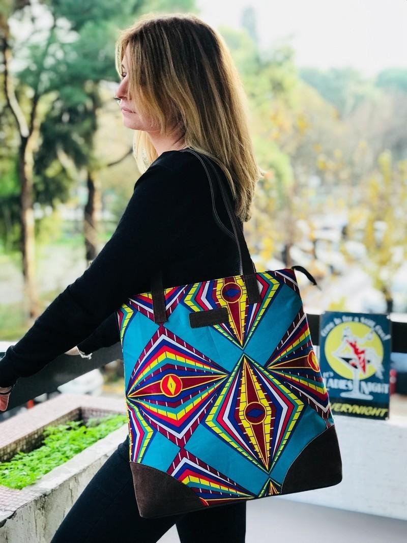 3aa6874de88d Tote bag wax print african print ankara print ethnic geometric print ...
