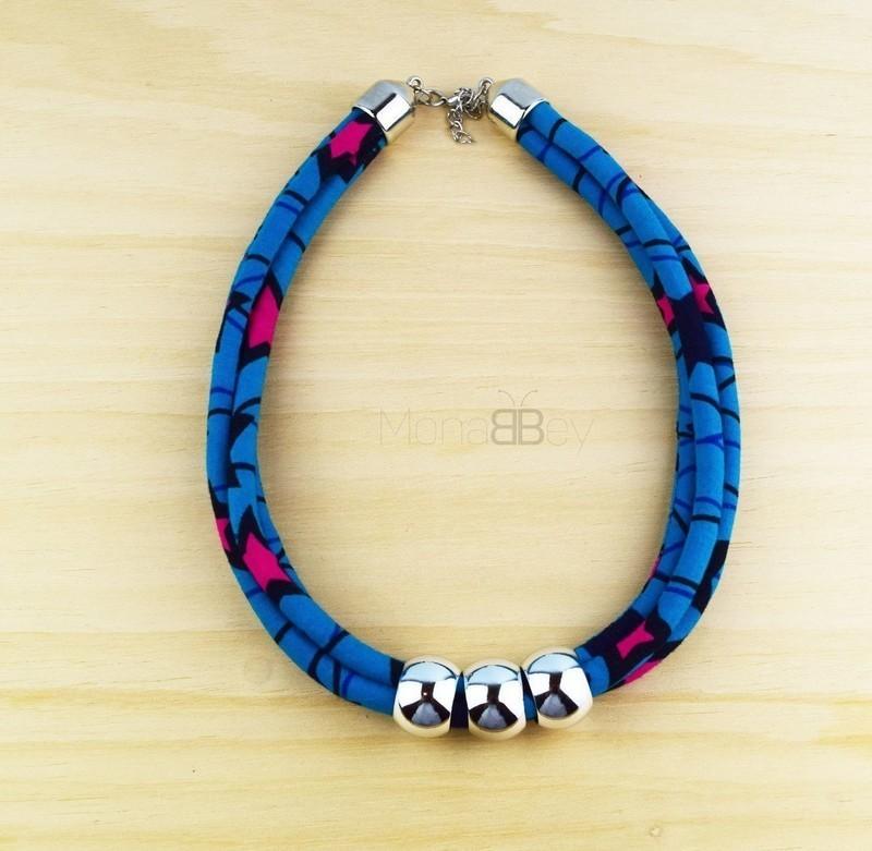 SOLDES Collier en tissu wax SN042, bijoux en tissu wax, collier africain,  cadeau pour femme , Colliers mi,longs bleu, wax, pour elle, wax, look en wax