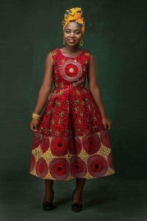 African Print Senegal Midi Dress: Nkem Africaine Robe Midi, Robe Ankara Midi, Robe Courte