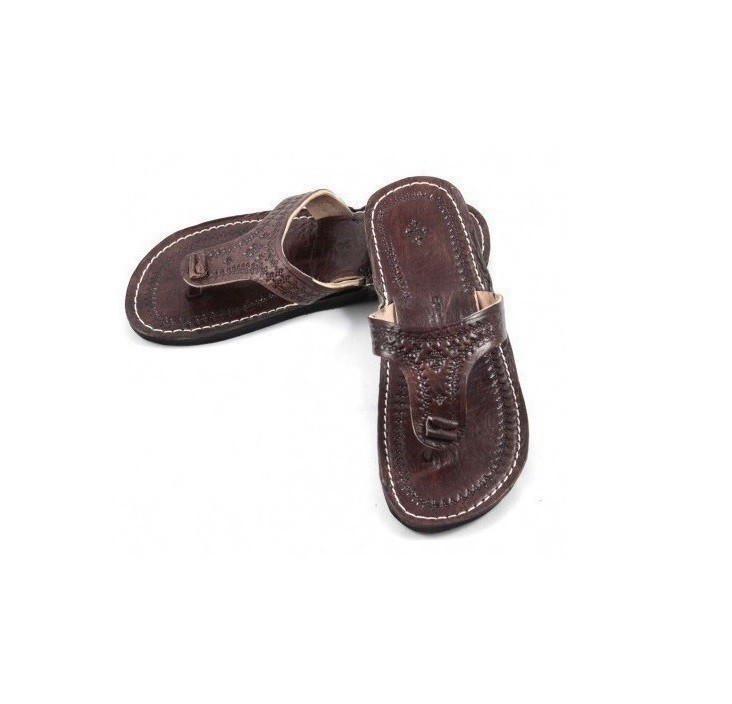 68a1162f3b54 Genuine Leather Flip-flop with Engraved Patterns Handmade in Morocco ...