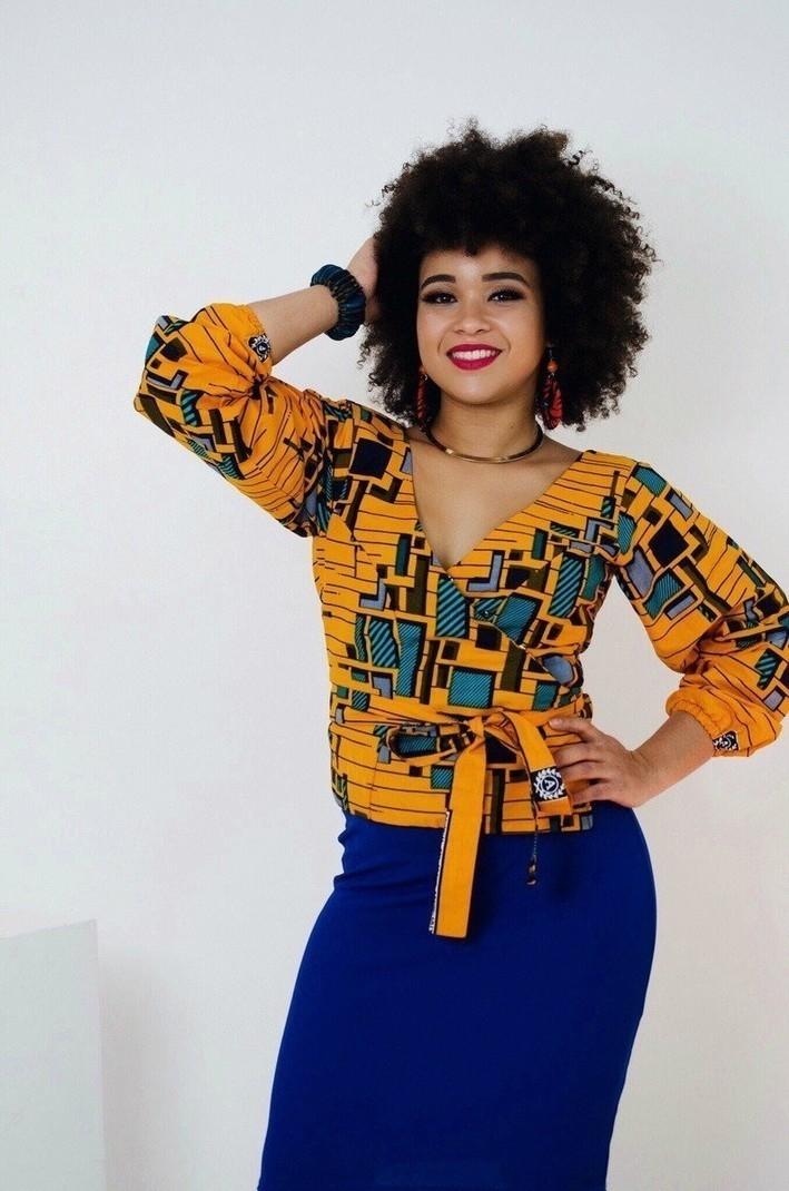 e604465c8c7 3 4 sleeve crossover blouse by sosoden - Wrap Tops - Afrikrea