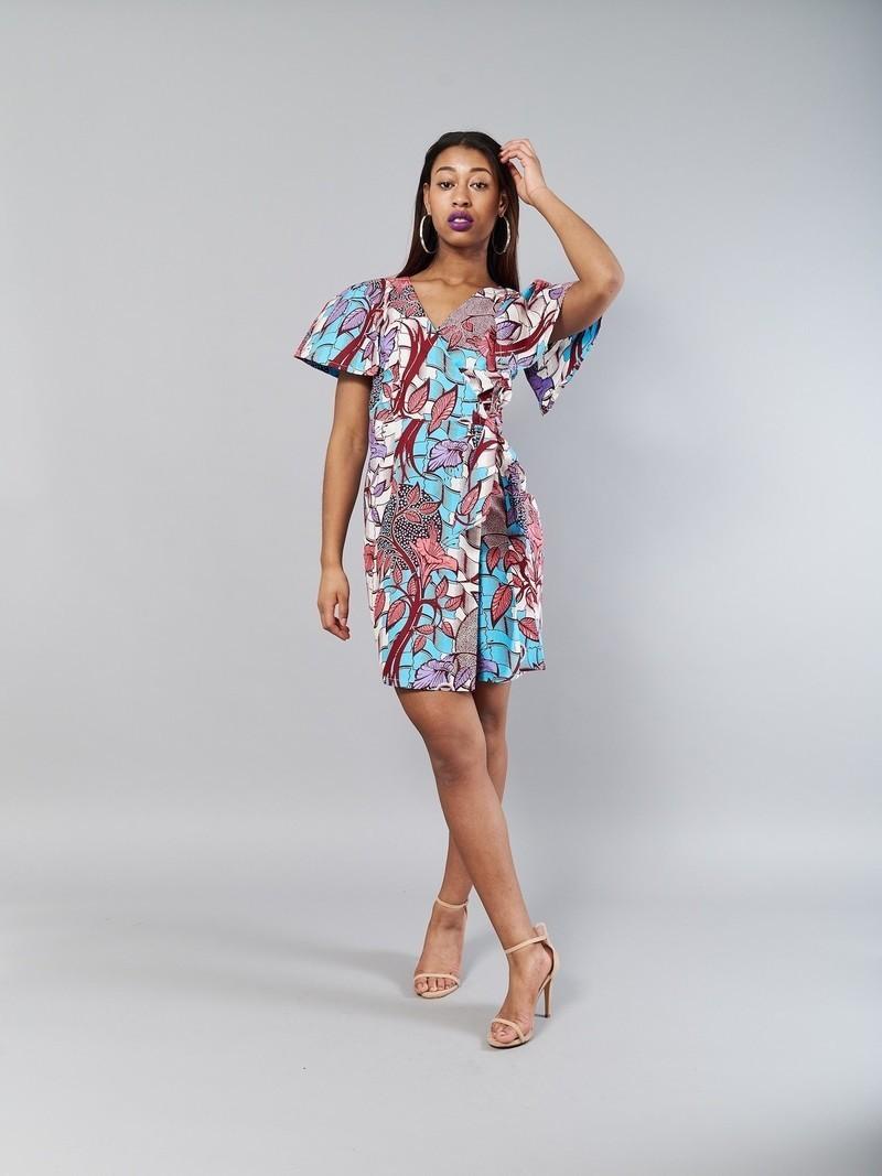 713b4e8b2ef3c4 Lavender dress - Kitenge wrap dress by nevice - Short dresses - Afrikrea