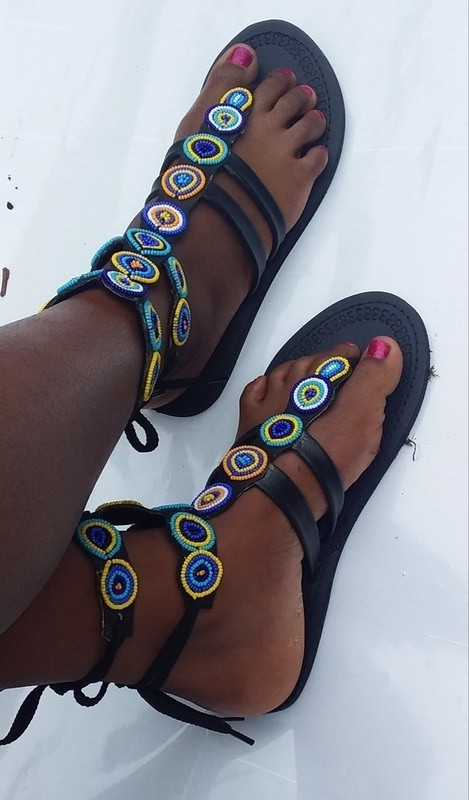 104090eb2077 African beaded gladiator sandals  Maasai beaded sandal   women ...