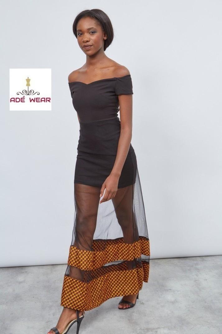 Robe longue en wax et tulle par ade-wear - Robes longues - Afrikrea f5a2ee67a10