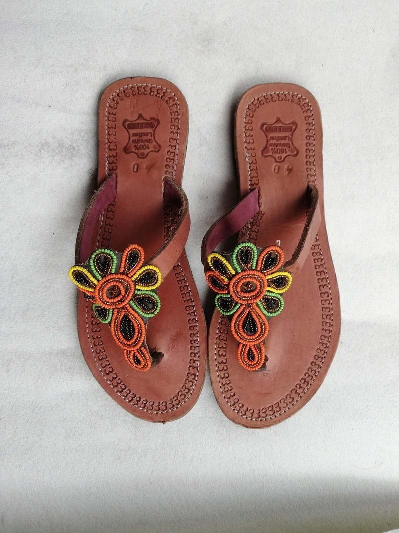 943764170977c African beaded sandals, Masai sandals, African leather sandals, Beach  sandals, Boho sandals - Sandals, flip flops orange, , with an ankara touch,  ...