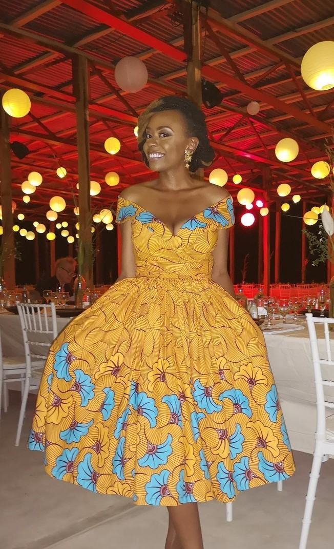 Ouidah dress salmon wedding flower - Mid-length Dresses flared dresses,  orange, maternity, plus size and curves, all ankara, casual, african  inspired ...