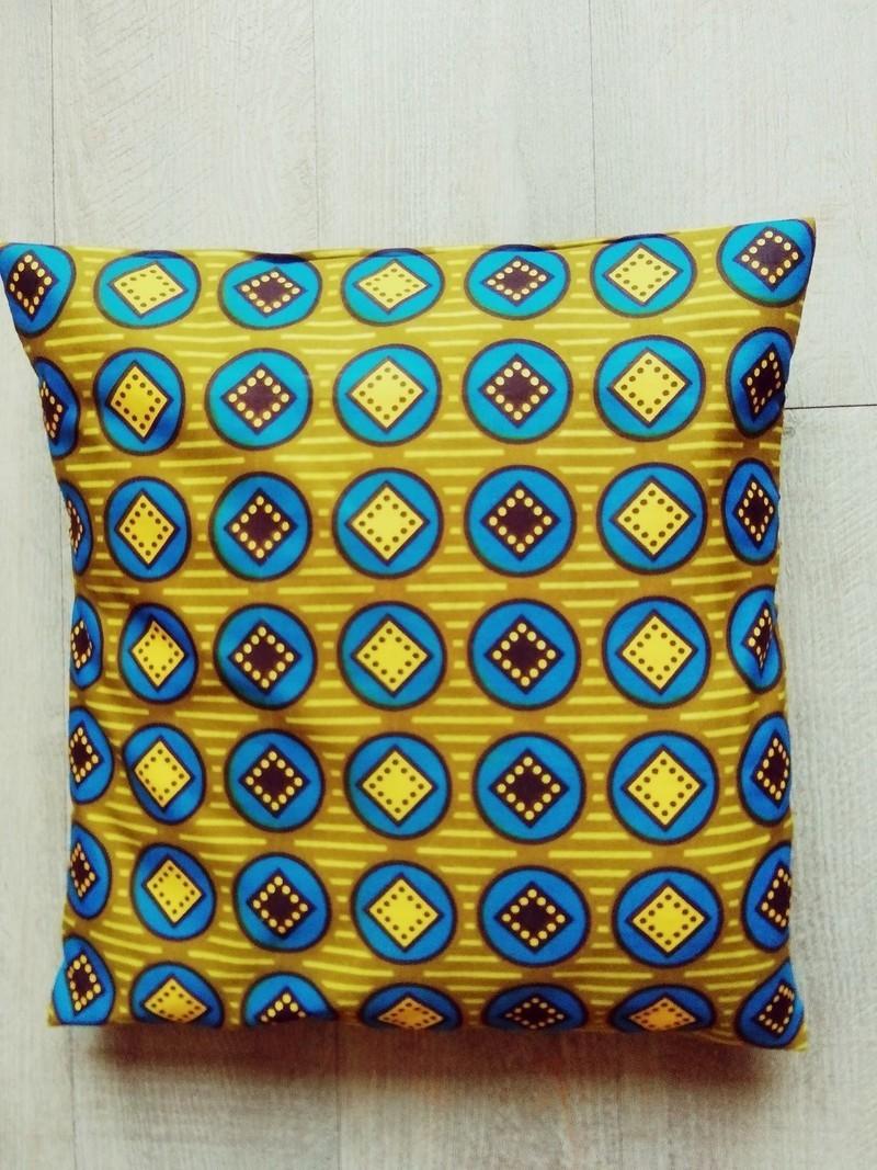Deco Salon Bleu Roi cushion cover 50 cm on 50 wax certified - cushion blue, ankara