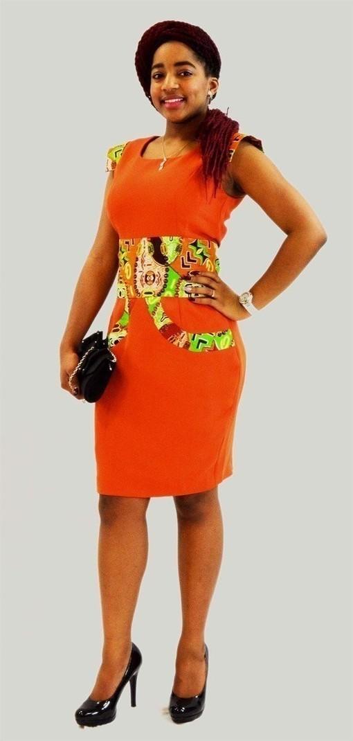 belle de robe soir e en satin orange en tissu africain par kabangondo afrikrea. Black Bedroom Furniture Sets. Home Design Ideas