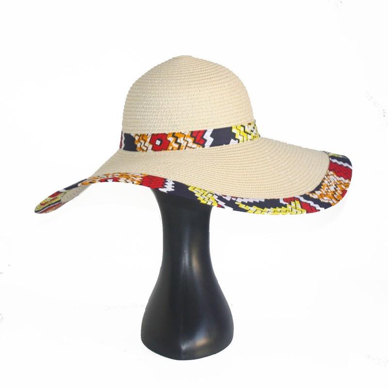Grande capeline en Wax, Batik jaune, Capeline paille écru, Chapeau ... 48a80823e61