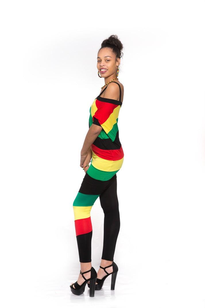 18d6e582910 Tuniques Femme. Robe tunique déstructuré aux couleurs rasta noire vert  jaune rouge