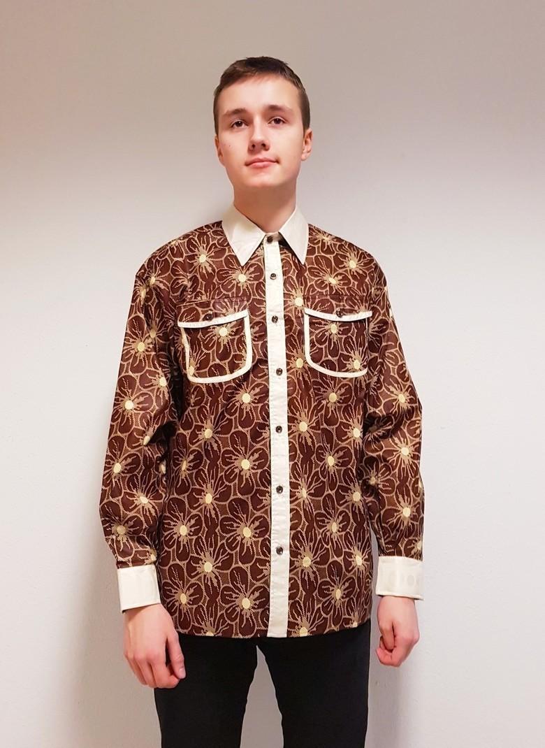 African Brown And Cream Print Shirt Wax Africain Mens Shirt
