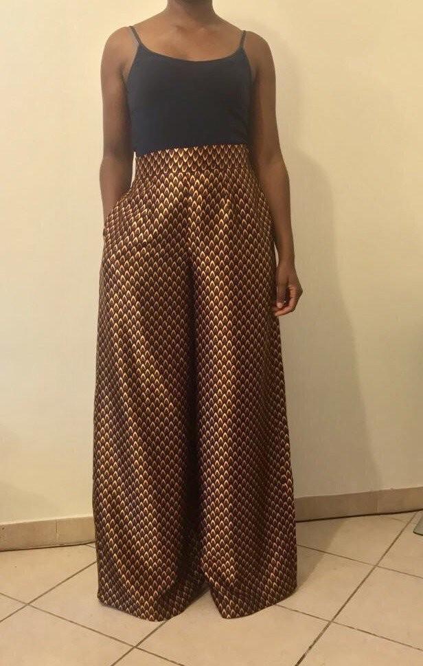 848cfb297f5ab Wax print silk palazzo trousers by ade-wear - Women s Pants - Afrikrea