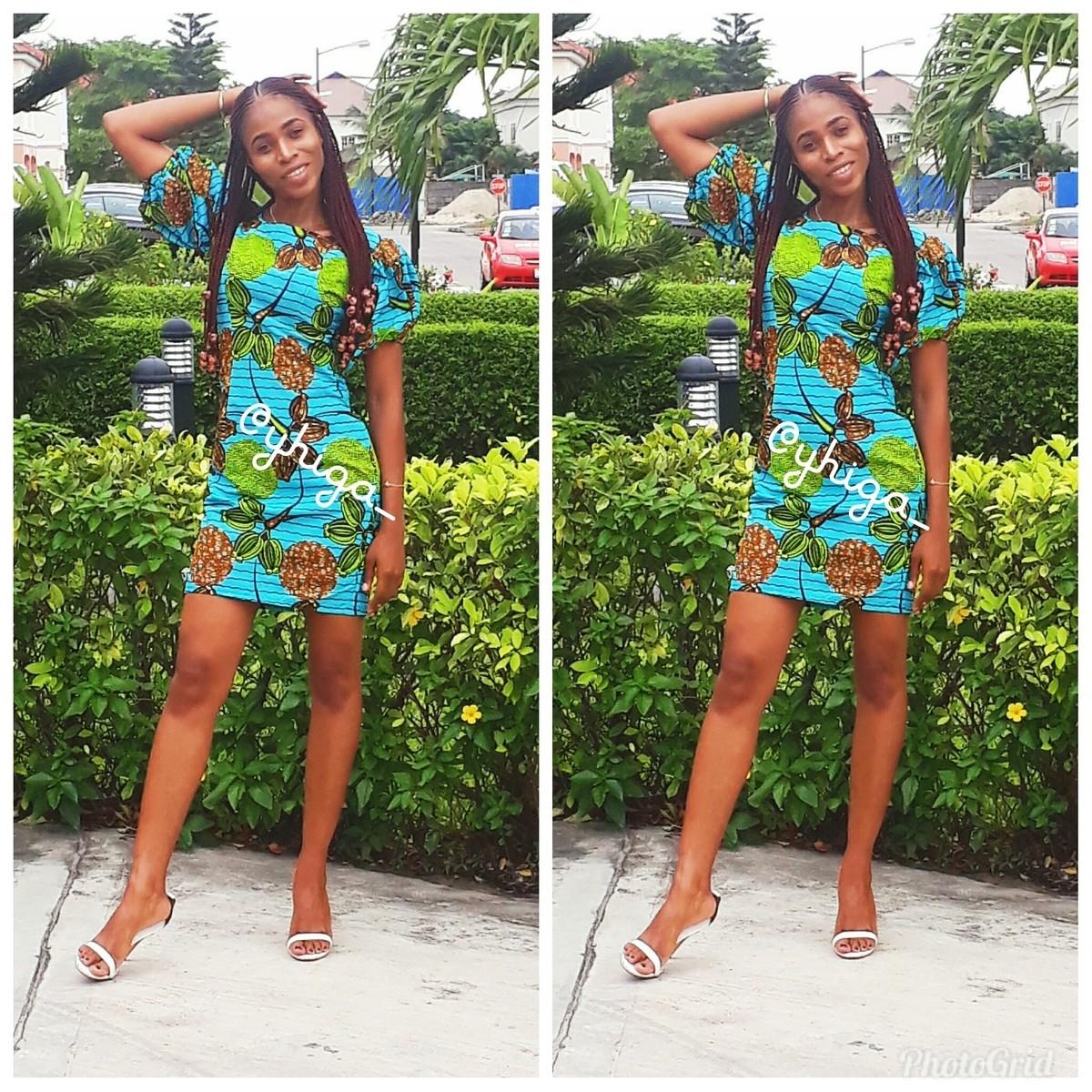 e23efca6c0c CHERRY Puff Sleeve Ankara dress by yhiga - Short dresses - Afrikrea