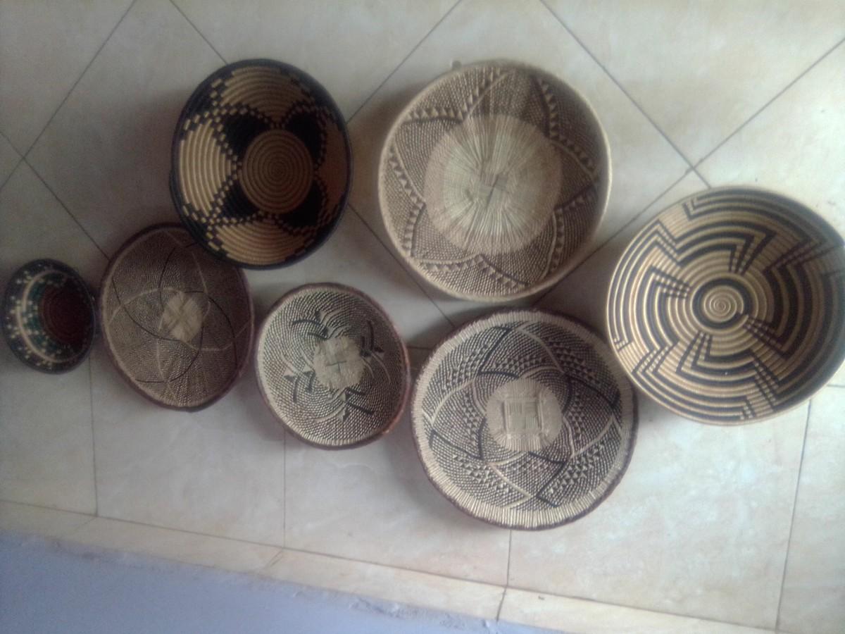 Tenture Africaine Grande Taille un ensemble f 7 paniers rwanda / paniers rwanda / paniers tonga / paniers  binga