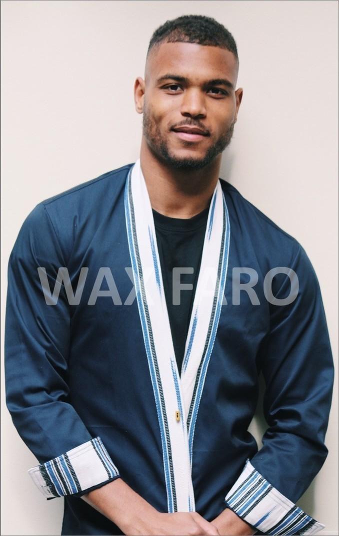 475ad0b27d2 Veste Kimono Masaki bleue par wax-faro - Kimonos Hommes - Afrikrea