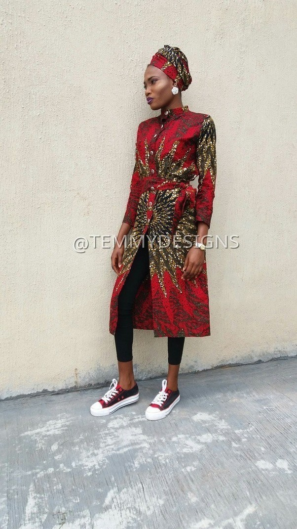 dcd47ac3719 Red African shirt dress