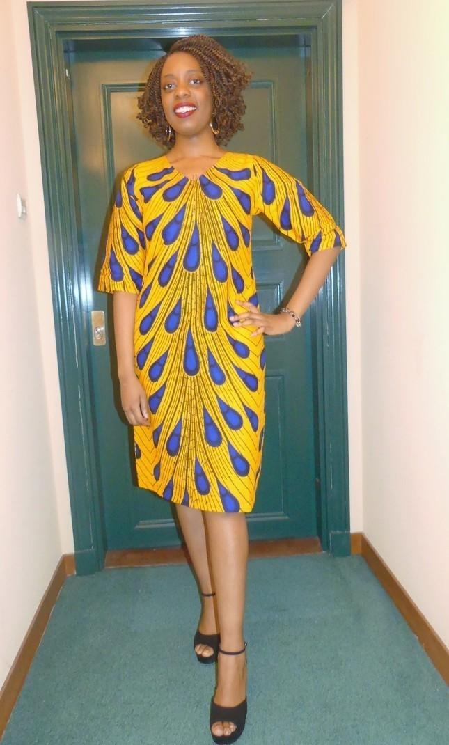 Nouvelle liste découvrir les dernières tendances codes promo Robe droite en wax ( pagne africain ) - Robes courtes , multicolore, , , ,  pour elle, coton,