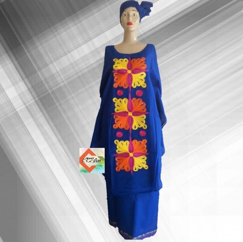 best loved so cheap offer discounts Boubou Africain Femme| Tenue Africaine | Ensemble 3 pièces pour femme/  brodée - Tenues Tradi-couture bleu, grande taille et formes, look intégral  wax, ...
