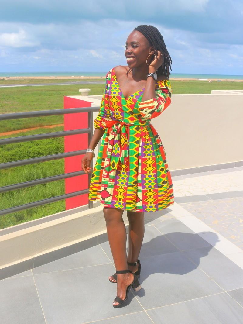 64e14598c Robe portefeuille kenté - Robes courtes , multicolore, , look intégral wax,  wax, pour elle, coton,