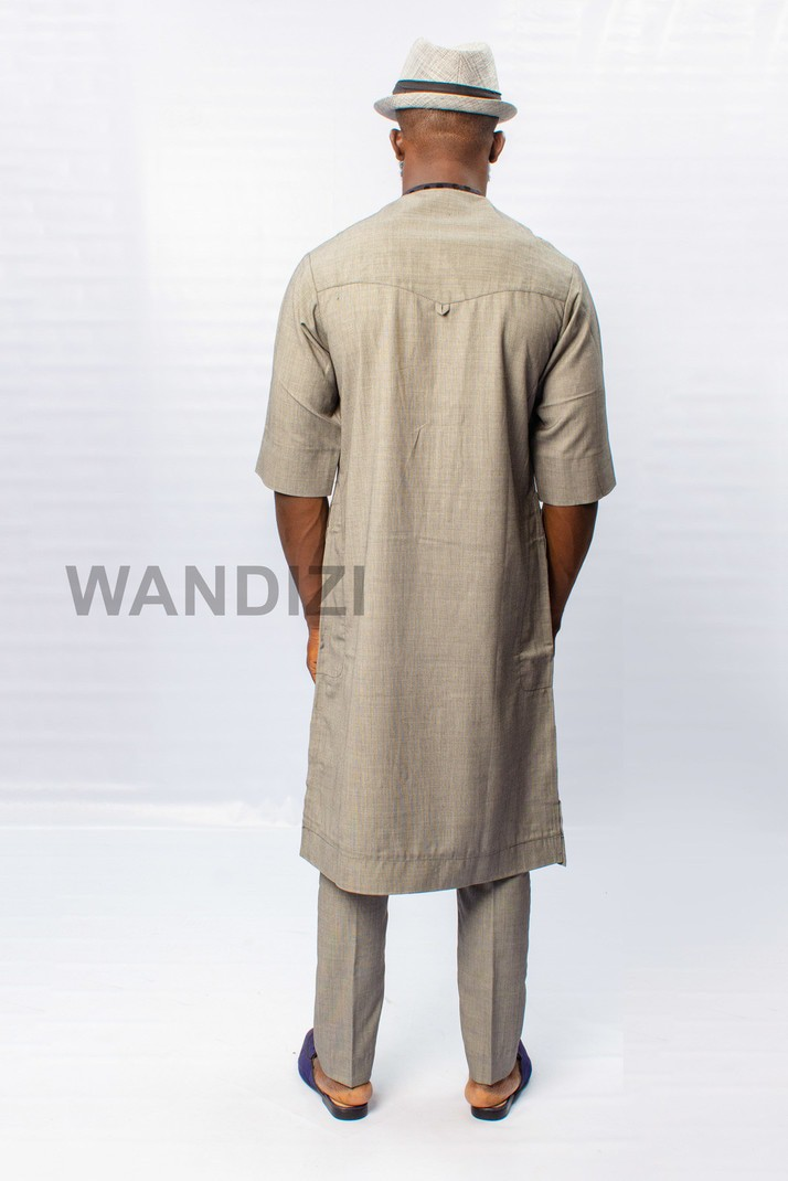 8343e605392ab Gray Kaftan with Dotted Black Accents, African Men Clothing, African ...