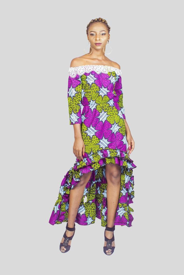 cbe06e081fd Ankara Off the Shoulder High Low Dress